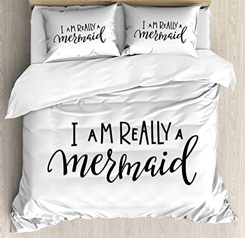 I'm Mermaid Duvet Cover Set King Size, Girl Quotation Monochrome Calligraphic Hand Written Inspirational Arrangement, Decorative 4 Piece Bedding Set with 2 Pillow Shams, Black White