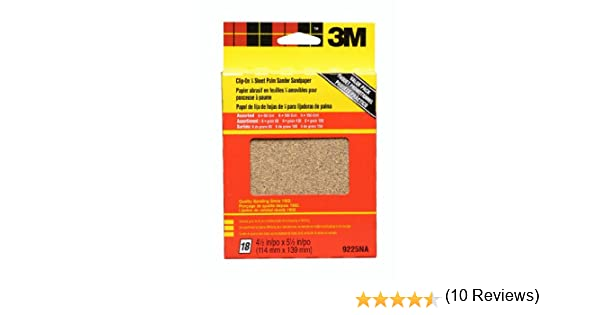 18-pack 99225NA 3M 9225NA 4.5-Inch by 5.5-Inch Clip-On Palm Sander Sheets Asst Grit