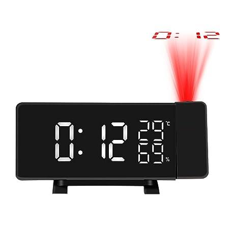 GuDoQi Radio Despertador Proyector Digital FM Radio Reloj Proyector Reloj Despertador Proyector con Dual Alarma Temperatura Higrómetro Función Snooze ...