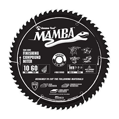 Amana Tool MA10060 Carbide Tipped Thin Kerf Finishing Compound Miter Mamba Contractor Series 10 Inch ()