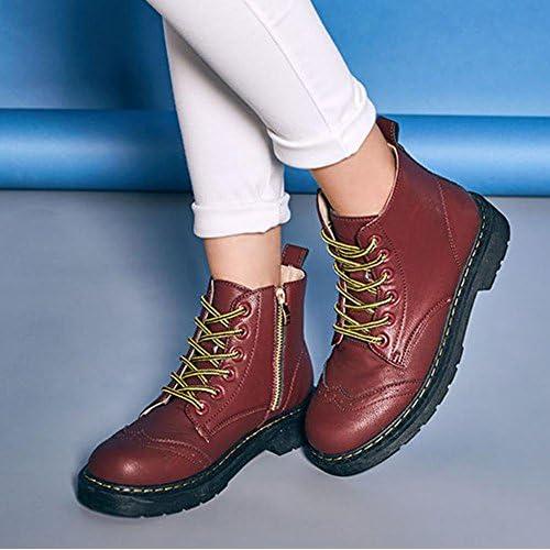 femmes martin court bottes cuir appartement talon chaud décontractée lacet côté fermeture éclair cheville chaussures . red . 37 z9ltlw