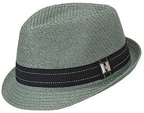 one-size-green-grey-fragile-paper-braid-fedora-with-black-fabric-hatband
