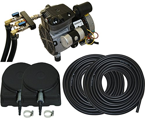 Professional Pond Kit - Complete Pond Aeration Kit | Rocking Piston Aerator + 200' of Weighted Tubing + 2 Diffusers (1/4 Hp, No Cabinet)