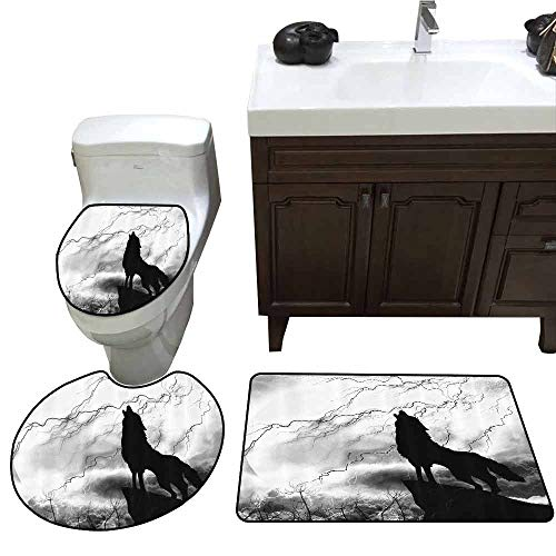 3 Piece Anti-Slip mat Set Black Wolf Silhouette Howling Thunderstorm Full Moon Light Mystic Night Gray White and Black Monochrome Scary Scene Art U-Shaped Toilet Mat Decorations Charcoal -