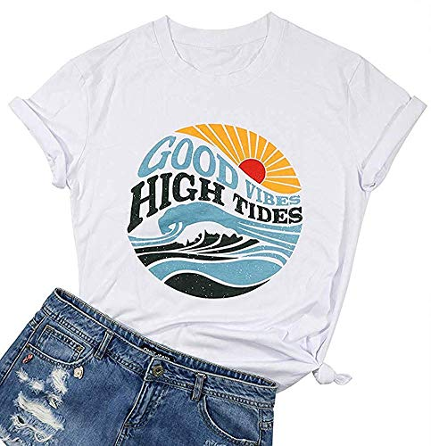 MOMOER Good Vibes High Tides T Shirt Womens Casual Letter Graphic Short Sleeve Summer Ladies Tops Tee White