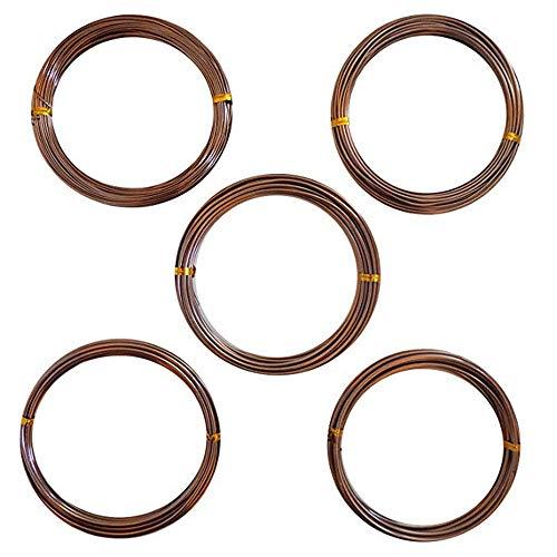 Velidy Anodized Aluminum Bonsai Coaching Wire Set,5Roll Bonsai Coaching Wire with 5 Sizes (1mm,1.5mm,2mm,2.5mm,3mm) (Brown)