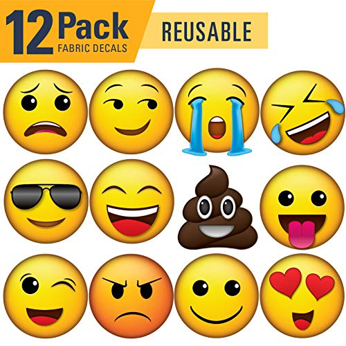 Vinyl Friend Emoji Icons Wall Decal Pack of 12-6.5in x 6.5in Reusable - REAPPLY - Fabric Material (Small, 12 Pack 1)