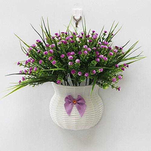 ガーデンスタイルWall Hangingプラスチック花バスケットミックス花,パープルOrchid Grass B072M9DY2P