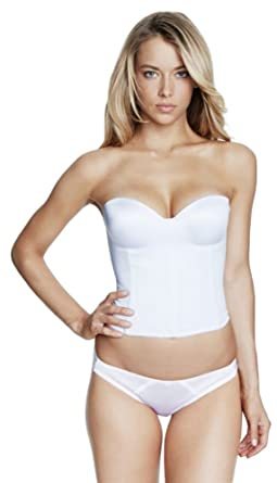 783c11723d1 Image Unavailable. Image not available for. Color  Dominique Molded  Seamless Longline Bridal Bra Bridal Bustier ...