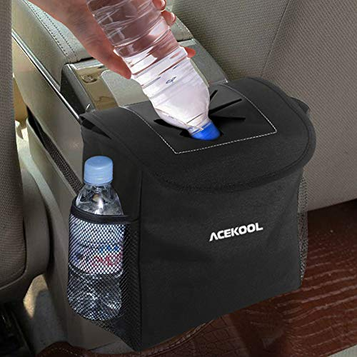 Acekool Car Trash Can with Lid and Storage Pockets,100% Leak Proof Car Trash Container Car Garbage Bag Hanging for Headrest/Gearshift/Center Console(5 PCS Garbage Bags Included)