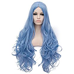 OneUstar Long Wavy Cosplay Wig Blue Heat Resistant Curly Cosplay Halloween Wigs for Women 31 inch