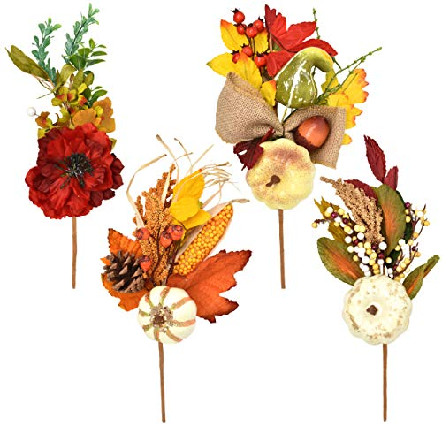 - 4 Count Thanksgiving Artificial Floral Picks Fall Decor Autumn Maple Leaves Berries Corn Pumpkin Gourds Pine Cones Harvest Stems for Table Centerpiece Door Wreath & Swag DIY Crafts Party Accessories