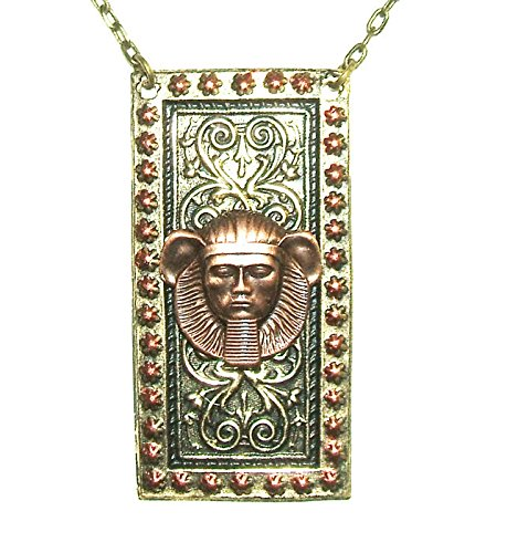 EGYPTIAN REVIVAL PHARAOH NECKLACE Copper Pltd Ancient Figural - Painted Hand Figural