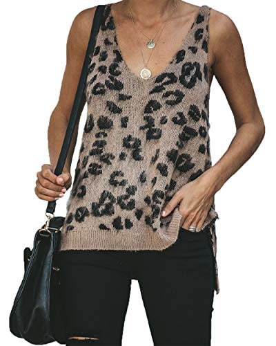 HZSONNE Women's Casual Leopard High Low Hem Camisole Deep V Neck Knitted Sweater Tops Cutout Tanks Sleeveless - Knit Tank Sweater Top