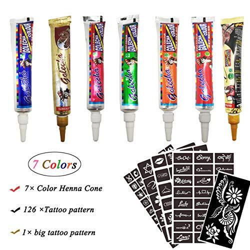 Henna Tattoos Kits- 7 Color Temporary Tattoo India Henna Kit Tattoo Paste Cone Body Art Painting Drawing with 127 pcs Tattoo - Henna Tattoo Color