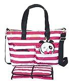 Betsy Johnson 3 Piece Fuschia/White Candy Striped Diaper Bag