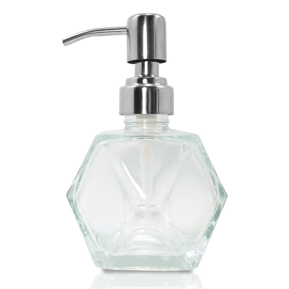 Modern Geometric Shape Clear Glass Soap Dispenser, Lotion Dispenser Bottle  with Rust Proof Stainless Steel Pump for Kitchen, Bathroom Accessory, ...