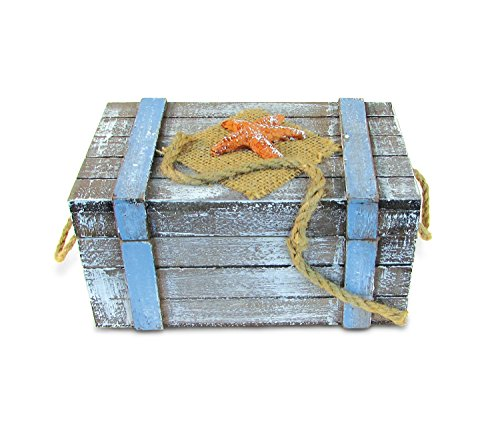 Puzzled Wooden Large Pacific with Orange Starfish Jewelry Box, Intricate & Meticulous Detailing Art Handcrafted Treasure Chest Trinket Accessory Storage Tabletop Accent Nautical Themed Home Décor -