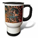 3dRose Grunge Style Japanese Geisha Girl and Dragon, Asian Design, Stainless Steel Travel Mug, 14-Oz