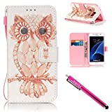 Galaxy S7 Case, Firefish Stand Flip Folio Wallet Cover Shock Resistance Protective Shell with Cards Slots Magnetic Closure for Samsung Galaxy S7-Owl