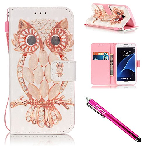 Price comparison product image Galaxy S7 Case, Firefish Stand Flip Folio Wallet Cover Shock Resistance Protective Shell with Cards Slots Magnetic Closure for Samsung Galaxy S7-Owl