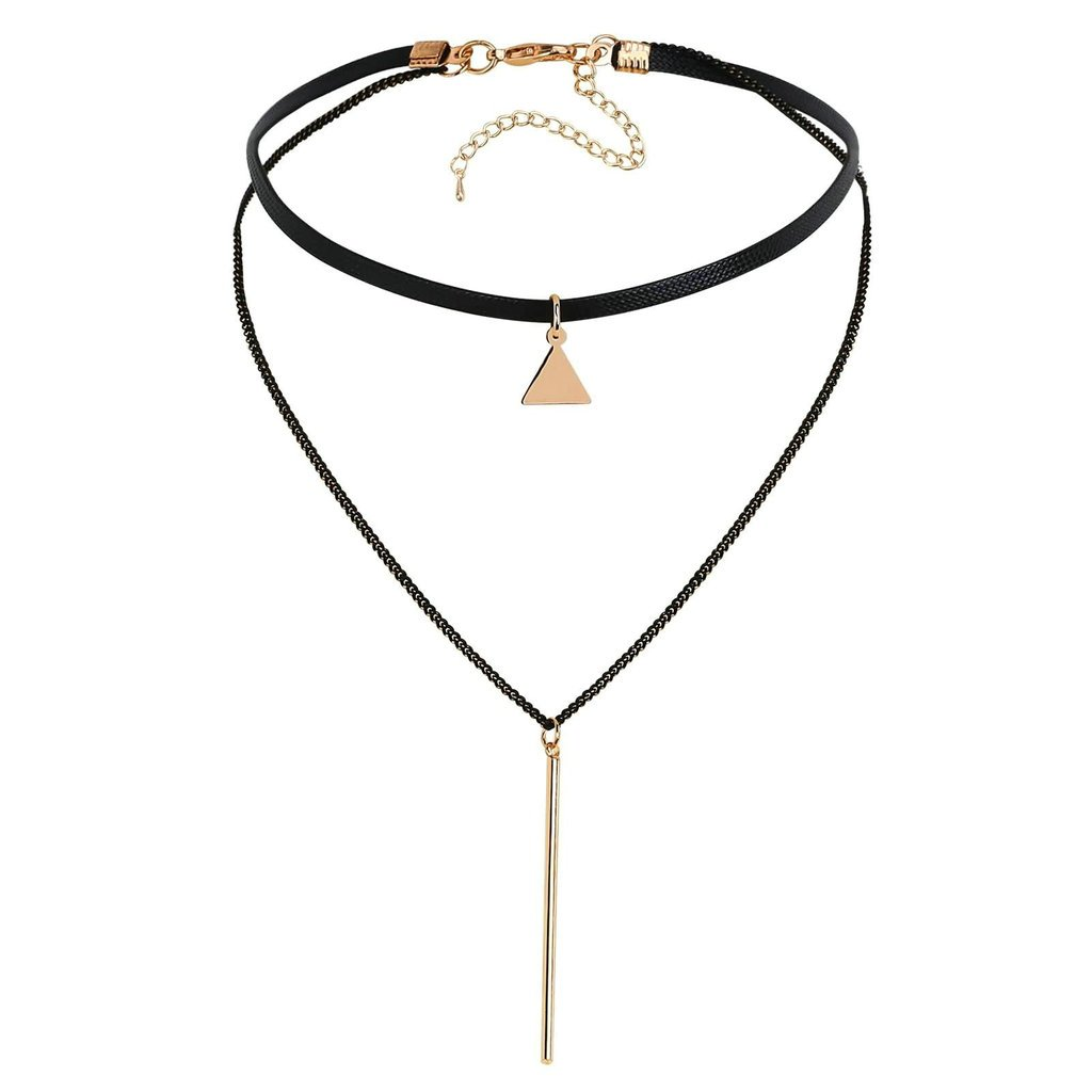 KnSam Women Stainless Steel Choker Necklaces Collar Triangle Cylinder Layers Cord Gold Black