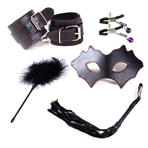Price comparison product image YABINA 5 Pcs Sex Bondage Hand Cuffs Footcuff Whip Blindfold Mask Couples Toy Kit Set