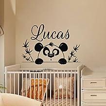 Wall Decals Personalized Name Decal Vinyl Sticker Tree Branch Panda Boy Baby Children Nursery Bedroom Playroom Decor Window Art Murals MN567