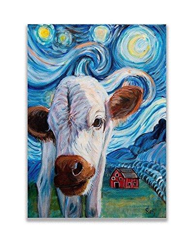 Baby Cow Art Print, 9x12inch matted fits 12x16 frame, Calf Starry Night Van Gogh Farmhouse Decor