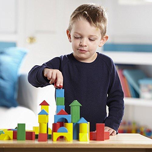 51ppZFAn%2B5L - Melissa & Doug Wooden Building Blocks Set - 100 Blocks in 4 Colors and 9 Shapes