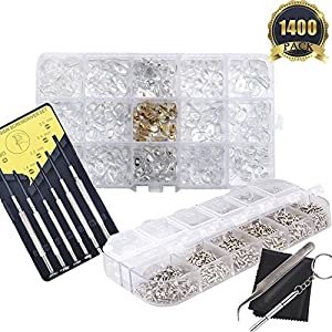 Eyeglasses Repair Kit 1100Pcs Tiny Screws Nut Washer 150 Pairs Eyewear Nose Pads with Tweezer Screwdriver Cleaning Cloth for Sunglasses Spectacles and Watch Repair