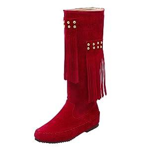 Carolbar Women's Plus Size Retro Tassels Fashion Hidden Heel Mid-Calf Casual Boots (6.5, Black)