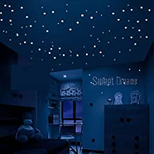 Glow In The Dark Stars Wall Stickers,252 Adhesive Dots and Moon for Starry Sky, Perfect For Kids Bedding Room or Birthday Gift ,Beautiful Wall Decals by ,The One You Love