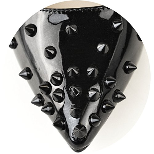 Stud Schwarz Mode Rock Gericht Schuhe Punk Patent Sandalen Spike Damen Damen Schimmer Stilettos High Durstige Heels Größe qqSRg8A