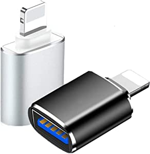 Lightning to USB3 Adapter 2 Pack, ROSYCLO MFi Certified USB OTG Data Sync Converter for iPhone 12/11/X/8/7/6/iPad,Camera,Card Reader,USB Flash Drive,Mouse,MIDI Keyboard iOS 9.2-14+(Silver+Black)