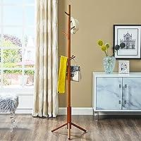 sukala Wood Coat Rack Free Standing, Entryway Standing Jacket Coat Dress Hanger Rack for Living/Bedroom (Teak)