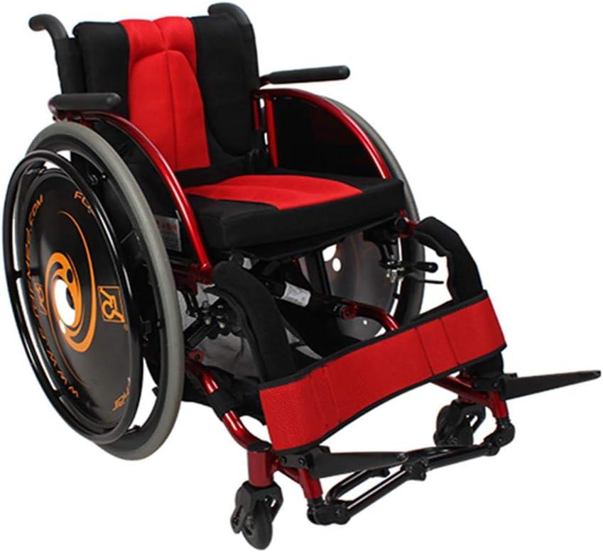 YUXINCAI Deportes Plegable Silla De Ruedas Silla De Ruedas Ultraligera Deportes De Ocio para Personas con Discapacidad,Rojo