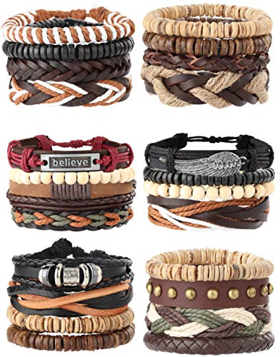 Milacolato 26Pcs Woven Braided Leather Bracelet for Men Women Hemp Cords Wood Beads Cuff Bracelets Adjustable Black White