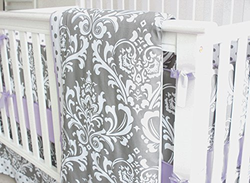 7 Pieces Set Grey Purple Floral Bedding Sets