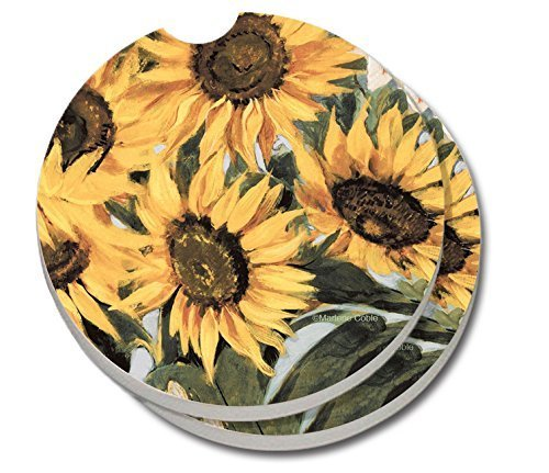 CounterArt Absorbent Stoneware Car Coasters, Sunflowers - Set of 2