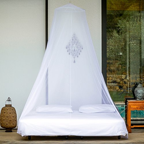 The Mosquito Net for Double Bed Canopy by #1 EVEN Naturals® | Largest Screen Netting Canopy Circular Curtains | Insect Malaria Repellent | Full hanging kit, Free Carry Bag, Free eBook