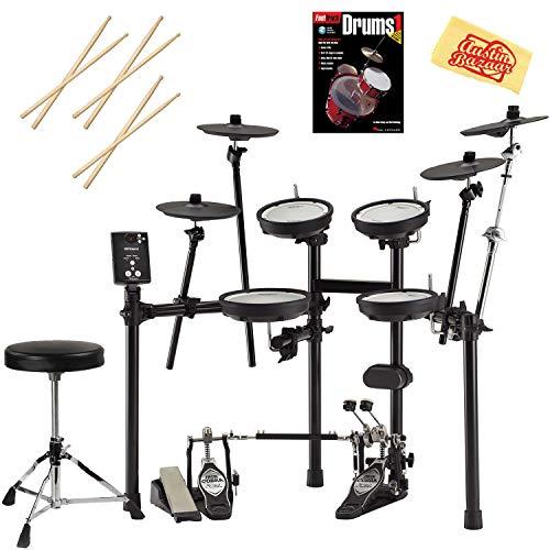 Roland V-Drums TD-1DMK Drum Set Bundle with Drum Throne, Drum Sticks, Fast Track Drum Book, and Austin Bazaar Polishing Cloth -
