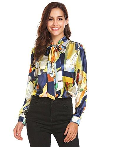 Pinspark Women's Fashion Collar Long Sleeve Print Casual Button Down Blouse Shirt (M, Orange-Satin) (Satin Unique Dress Print)