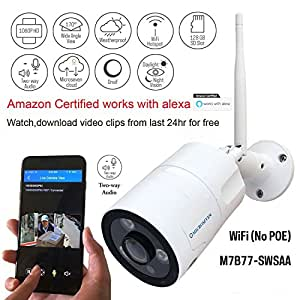 Microseven 1080P Works with Alexa HD Cloud Cam,Free 24Hr Cloud,Two-Way Audio WiFi Wide Angle (170°) Outdoor Wireless IP Camera,Built-in Mic & Speaker 128GB SD Slot, ONVIF, Live Streaming microseven.tv