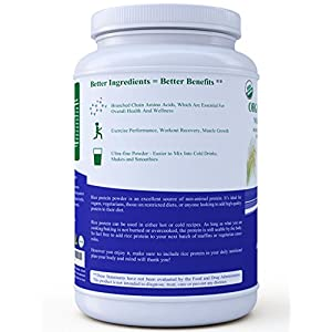3 lb. Organic Brown Rice Protein Powder. USDA Certified. 85% Protein. No GMO, Soy or Gluten. Vegan. Full Spectrum Amino Acids (BCAA). Ultra-fine Powder Mixes Best in Drinks.