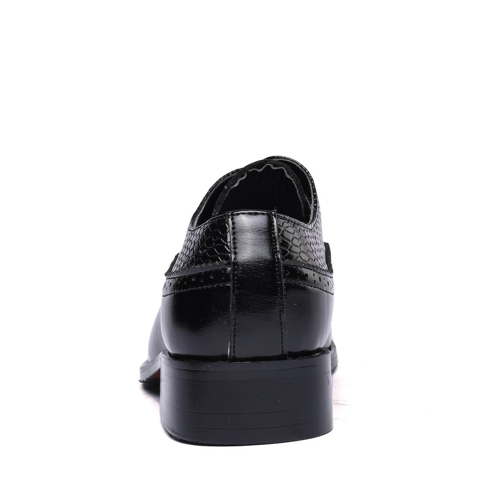 WULFUL Men's Leather Dress Oxfords Shoes Business Retro Gentleman Black 7.5-8 D(M) US by WULFUL (Image #5)