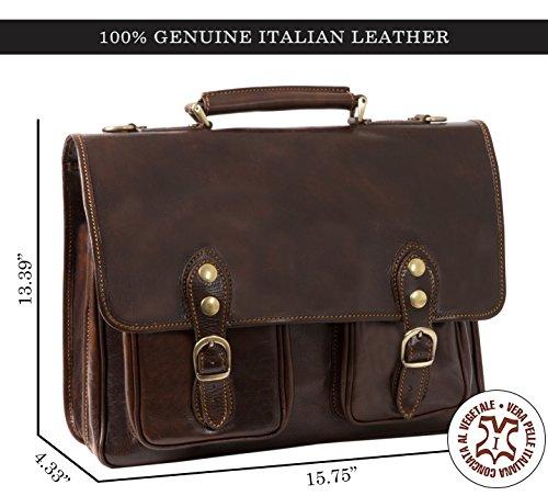 Luggage Depot USA, LLC Men's Alberto Bellucci Italian Leather Express Satchel D. Brn Laptop Messenger Bag, Dark Brown, One Size by Luggage Depot USA, LLC (Image #2)