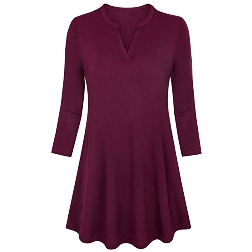Women's Blouse, V-Neck 3/4 Sleeve Loose Solid Tunic Tops Shirt Changeshopping Changeshopping Blouse changeshirt247