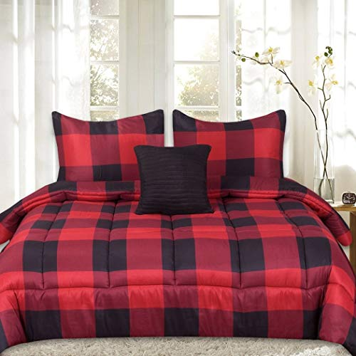 (Ln 4 Piece Black Red Check Plaid Comforter Full Queen Set, Lumber Jack Check Madras Plaided Themed Bedding Checkered Tartan Lodge Cabin Pattern, Microfiber)
