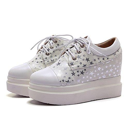 Assortiti Fino Colori Amoonyfashion Rotonda Tacchi Delle shoes Donne Bianco Alti Chiusa Pompe Merletto Punta Fgvx1g